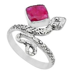 925 sterling silver 2.53cts solitaire natural red ruby snake ring size 7 t32015