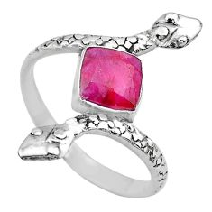 925 sterling silver 2.81cts solitaire natural red ruby snake ring size 9 t32017