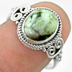 925 sterling silver 4.18cts solitaire natural white howlite ring size 7 t57484