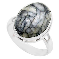 925 sterling silver 6.72cts solitaire natural white pinolith ring size 6 t27674