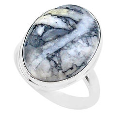 925 sterling silver 14.23cts solitaire natural white pinolith ring size 7 t27692