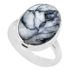 925 sterling silver 9.56cts solitaire natural white pinolith ring size 8 t27664