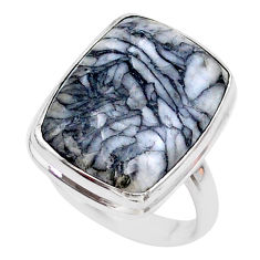 925 sterling silver 13.18cts solitaire natural white pinolith ring size 8 t27670