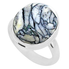 925 sterling silver 11.66cts solitaire natural white pinolith ring size 9 t27686