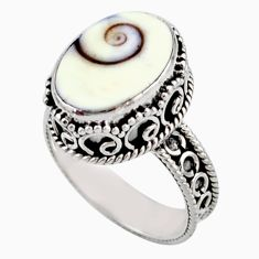 925 sterling silver 5.75cts solitaire natural white shiva eye ring size 8 r51869