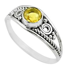 925 sterling silver 0.82cts solitaire natural yellow citrine ring size 6 t51931