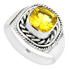 925 sterling silver 2.44cts solitaire natural yellow citrine ring size 7 t23254