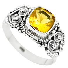 925 sterling silver 2.53cts solitaire natural yellow citrine ring size 8 t23251