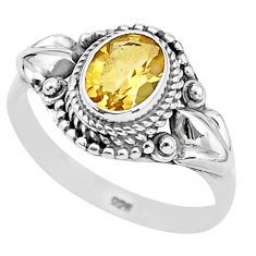 925 sterling silver 2.17cts solitaire natural yellow citrine ring size 9 t3949
