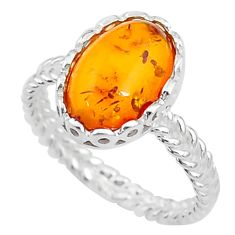 925 sterling silver 3.05cts solitaire orange amber ring jewelry size 7 t10568