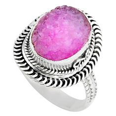 925 sterling silver 5.36cts solitaire pink druzy ring jewelry size 6 t15525