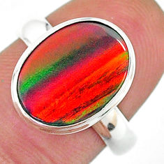 925 silver 5.64cts solitaire volcano aurora opal (lab) ring size 7.5 t16960