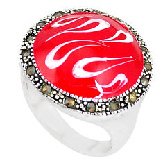 925 sterling silver 7.02gms swiss marcasite enamel ring jewelry size 6.5 c18244