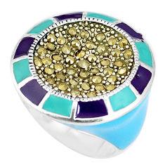 925 sterling silver 11.25gms swiss marcasite enamel ring jewelry size 7.5 c18436