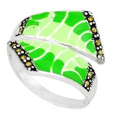 925 sterling silver swiss marcasite enamel ring jewelry size 8.5 c18365