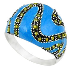 925 sterling silver swiss marcasite enamel ring jewelry size 7.5 c18512
