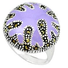925 sterling silver swiss marcasite enamel ring jewelry size 7.5 c18341