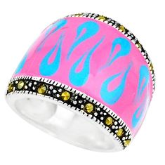 925 sterling silver swiss marcasite enamel ring jewelry size 5.5 c18515