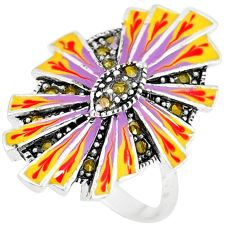 925 sterling silver swiss marcasite enamel ring jewelry size 8 c18488