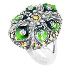 925 sterling silver 7.26gms swiss marcasite enamel ring jewelry size 6 c16184