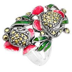 925 sterling silver 9.89gms swiss marcasite enamel ring jewelry size 7 c18400
