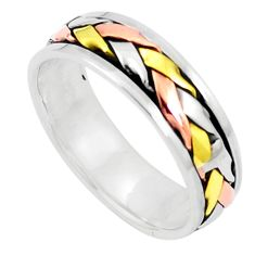 925 sterling silver two tone spinner band meditation ring size 7.5 c20988
