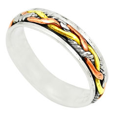 925 sterling silver two tone spinner band meditation ring size 6.5 c20992