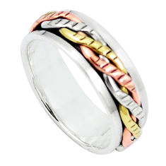 925 sterling silver two tone spinner band meditation ring jewelry size 6 c20993
