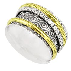 925 sterling silver 5.89gms victorian two tone spinner band ring size 6.5 r80545