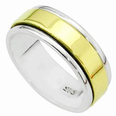 925 sterling silver 5.65gms victorian two tone spinner band ring size 9 t51875