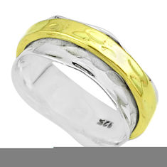 925 sterling silver 6.03gms victorian two tone spinner band ring size 8.5 t51768