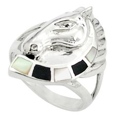 925 sterling silver white pearl onyx enamel ring jewelry size 7.5 c12043