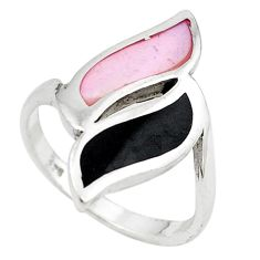 925 sterling silver white pearl onyx enamel ring jewelry size 7 a69602 c13205
