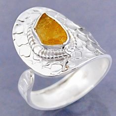 925 sterling silver 2.86cts yellow citrine rough adjustable ring size 9.5 r54744