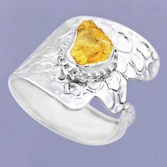 925 sterling silver 3.41cts yellow citrine rough adjustable ring size 8.5 r54915