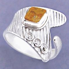 925 sterling silver 2.97cts yellow citrine rough adjustable ring size 11 r54851