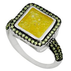 925 sterling silver yellow crack crystal topaz ring jewelry size 8.5 c22925