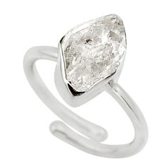 Clearance Sale- 925 sterling silver 5.84cts natural white herkimer diamond ring size 7 d32625