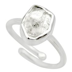 5.54cts natural white herkimer diamond 925 silver adjustable ring size 7 d32638