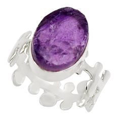 Clearance Sale- 6.72cts natural purple amethyst rough 925 silver solitaire ring size 7.5 d32646