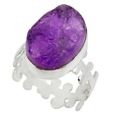 Clearance Sale- 9.56cts natural purple amethyst rough 925 silver solitaire ring size 7 d32656