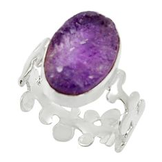 Clearance Sale- 925 silver 6.39cts natural purple amethyst rough solitaire ring size 8 d32660