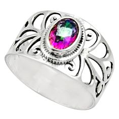 1.57cts multi color rainbow topaz 925 silver solitaire ring size 7.5 d32672