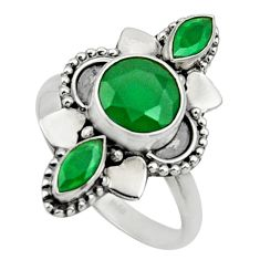 Clearance Sale- 925 sterling silver 4.43cts natural green chalcedony ring jewelry size 8 d32684