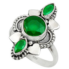 Clearance Sale- 4.43cts natural green chalcedony 925 sterling silver ring size 7.5 d32685