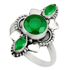 Clearance Sale- 4.43cts natural green chalcedony 925 sterling silver ring jewelry size 8 d32686