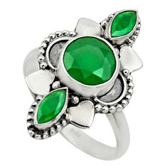 Clearance Sale- 925 sterling silver 4.28cts natural green chalcedony oval ring size 8 d32687