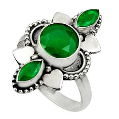 Clearance Sale- 4.28cts natural green chalcedony 925 sterling silver ring jewelry size 7 d32688