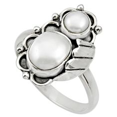 Clearance Sale- 925 sterling silver 4.51cts natural white pearl ring jewelry size 9 d32694