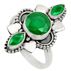 Clearance Sale- 4.43cts natural green chalcedony 925 sterling silver ring size 6.5 d32695